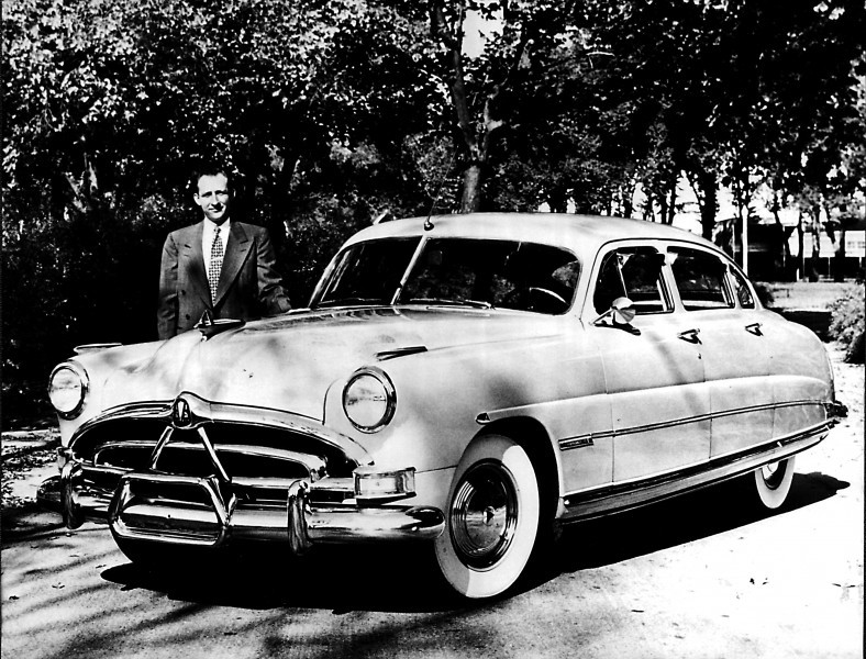 Marvin Peterson, October 1950 with a 1951 Hudson Commodore 6.