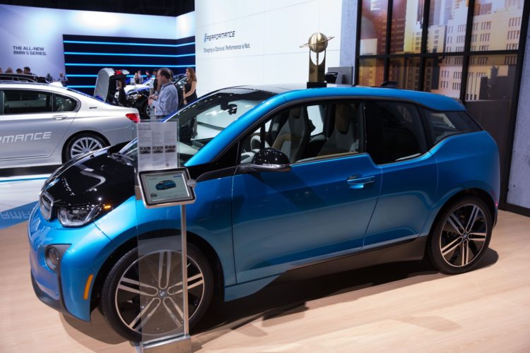 The World Urban Car Award for the BMW i3 on display by BMW at the New York International Auto Show at the Javits Center in Manhattan, NY April 12, 2017.   (Kevin Hagen for WCOTY)