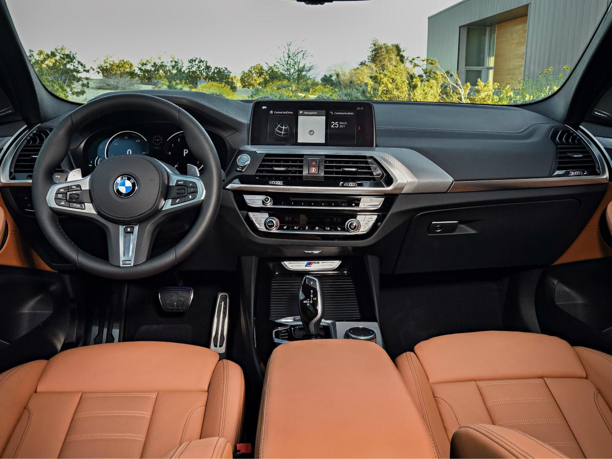 The 2018 X3 features a 10.25 inch iDrive infotainment display with touchscreen functionality and a redundant controller interface. Wireless Apple CarPlay functionality and satellite navigation are optional. (BMW)