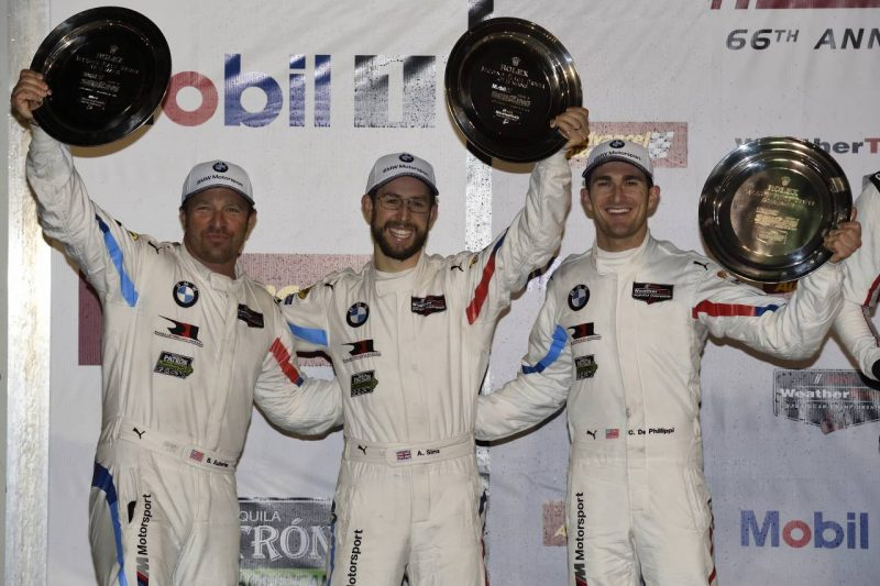 IMSA WeatherTech Sportscar Championship 2018, 66th Annual Mobil 1 Twelve Hours of Sebring Presented By Advance Auto Parts, Sebring International Raceway, Sebring, FL (USA). Alexander Sims (GBR), Connor de Phillippi (USA), Bill Auberlen (USA), No 25, BMW Team RLL, BMW M8 GTE. Podium Celebrations. 2nd Place GTLM Class.